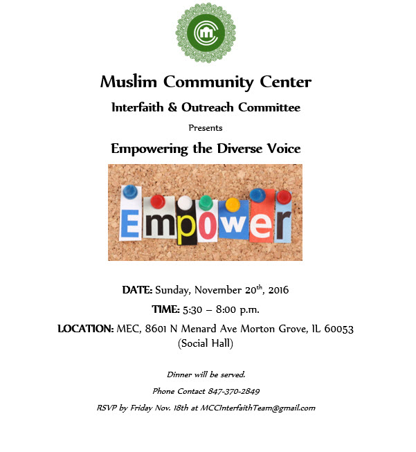 Upcoming at Muslim Community Center (MCC)