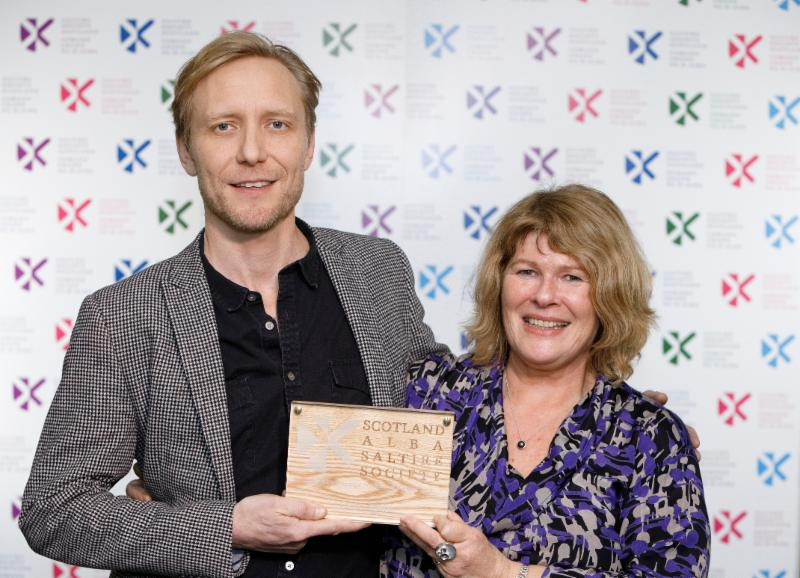 Francis Bickmore Kate Gibb of Canongate Books with Saltire Society Publisher of the Year 2018 award