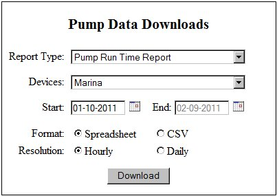 Pump Data Download Interface