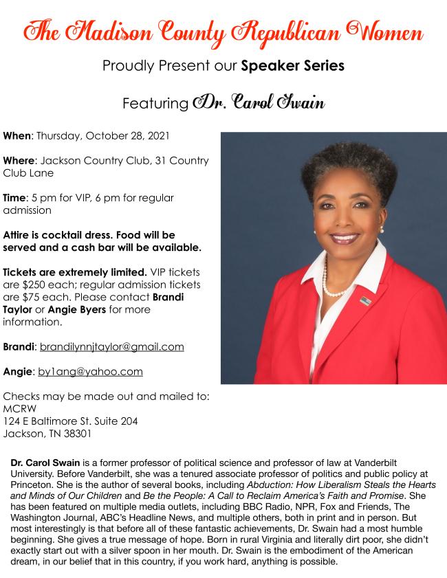 Fundraiser featuring Dr. Carol Swain!