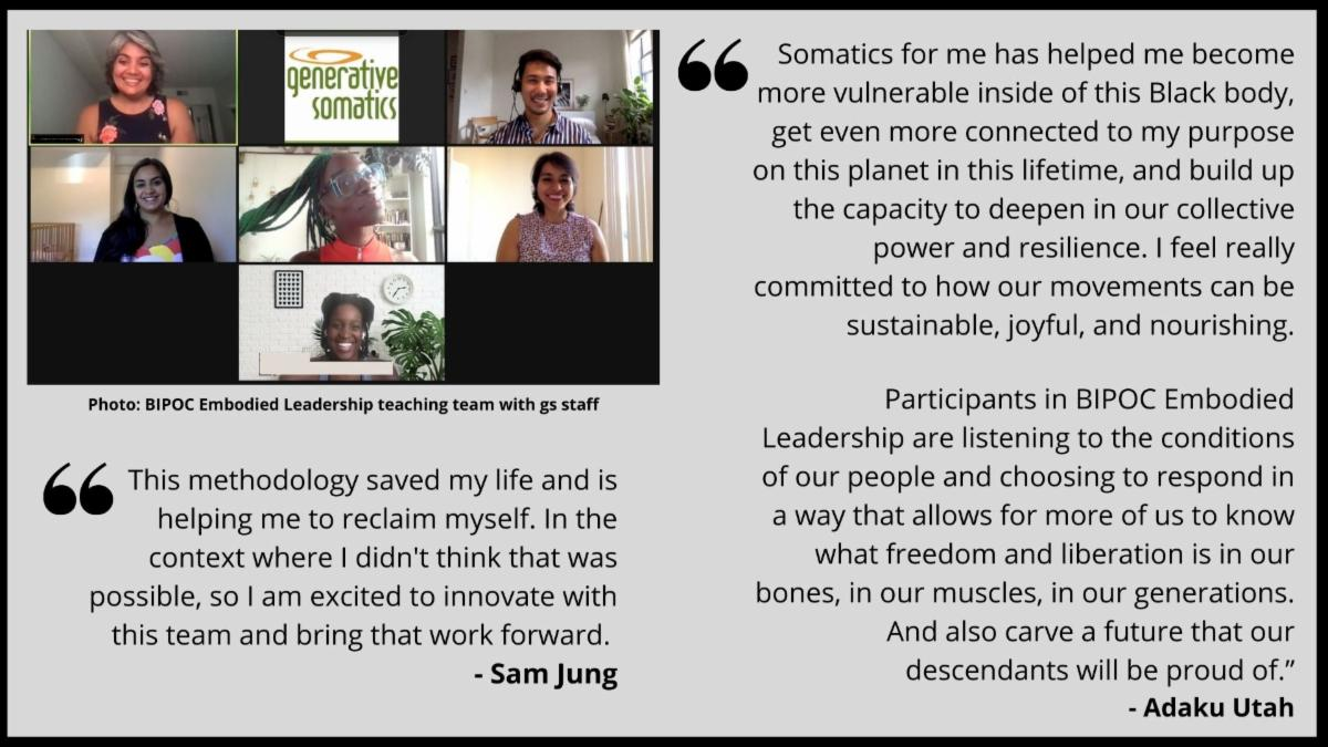 Photo of teaching team with quotes from Adaku and Sam.