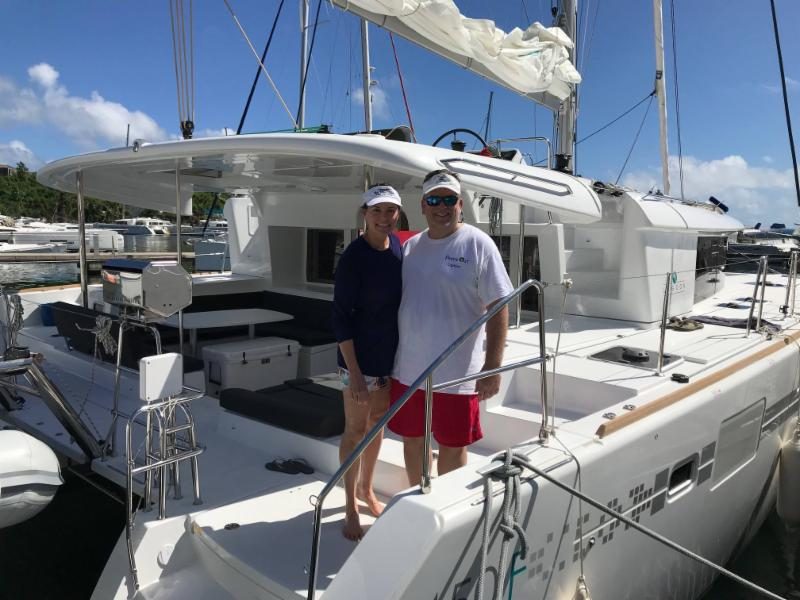 Colt and Kelly Luedde are sailing now aboard their new 2018  Lagoon 450