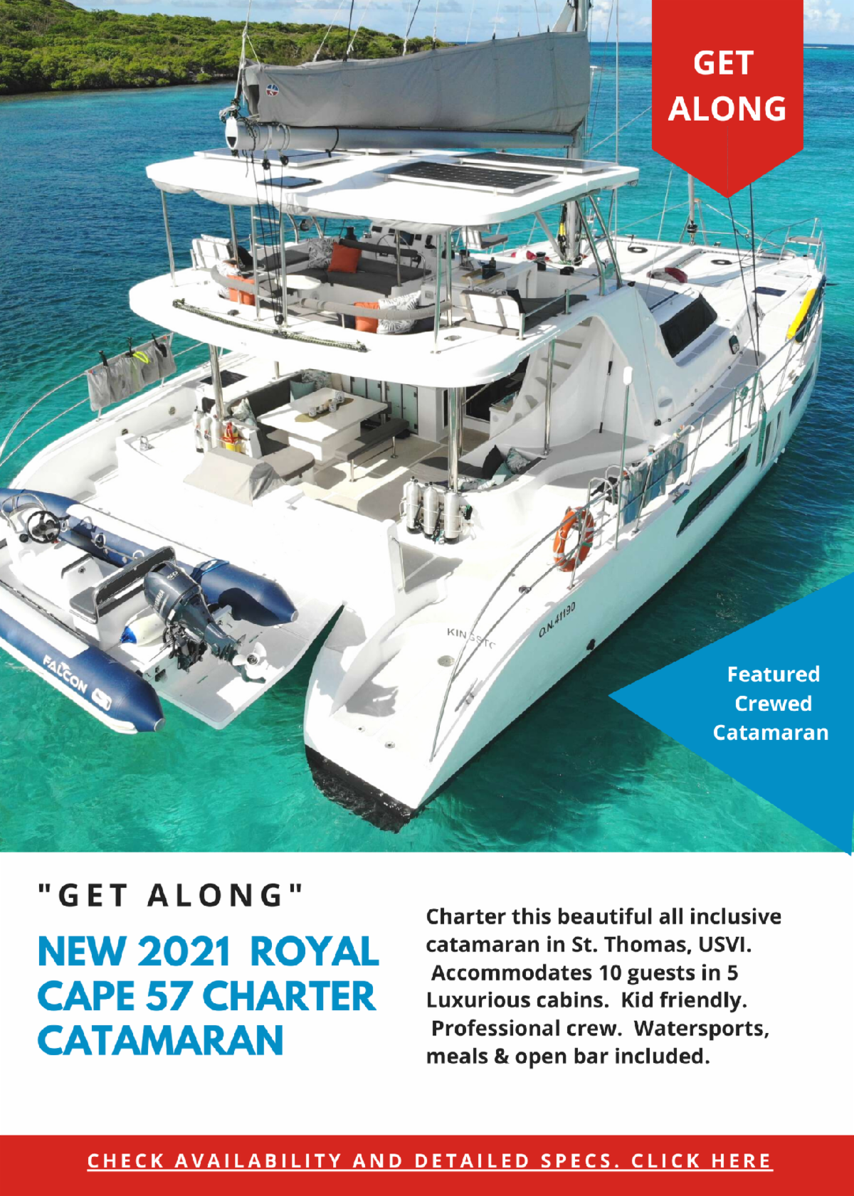 New 2021 Royal Cape 57 For Ten Guests in St. Thomas, USVI