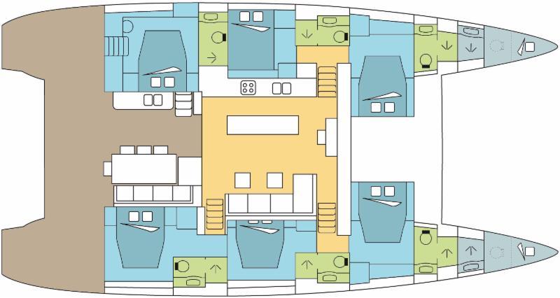 luxury catamaran layout