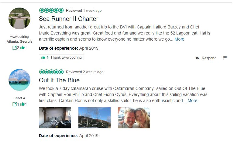 catamaran charter listings