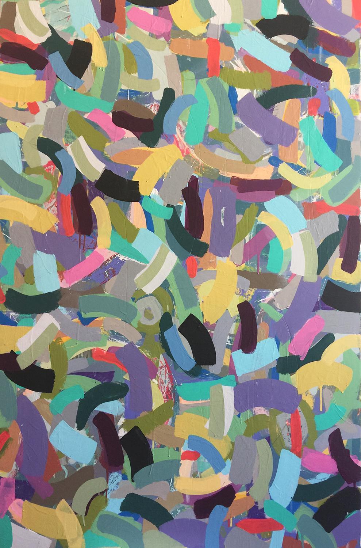 "Artwork: Susan Erickson, Kaleidoscope, Acrylic and house paint on wood, 36""x48"""