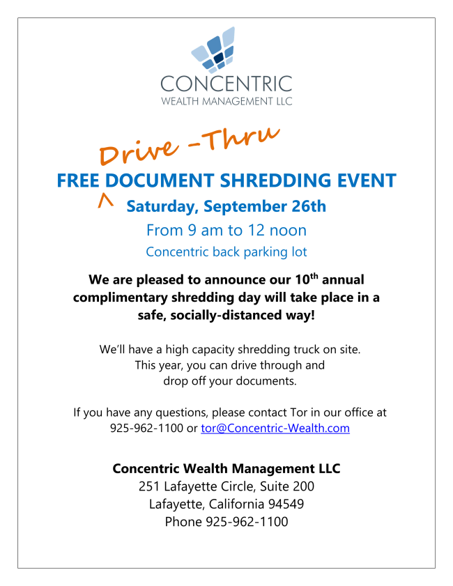 Drive-Thru Shredding Event - Saturday, September 26th