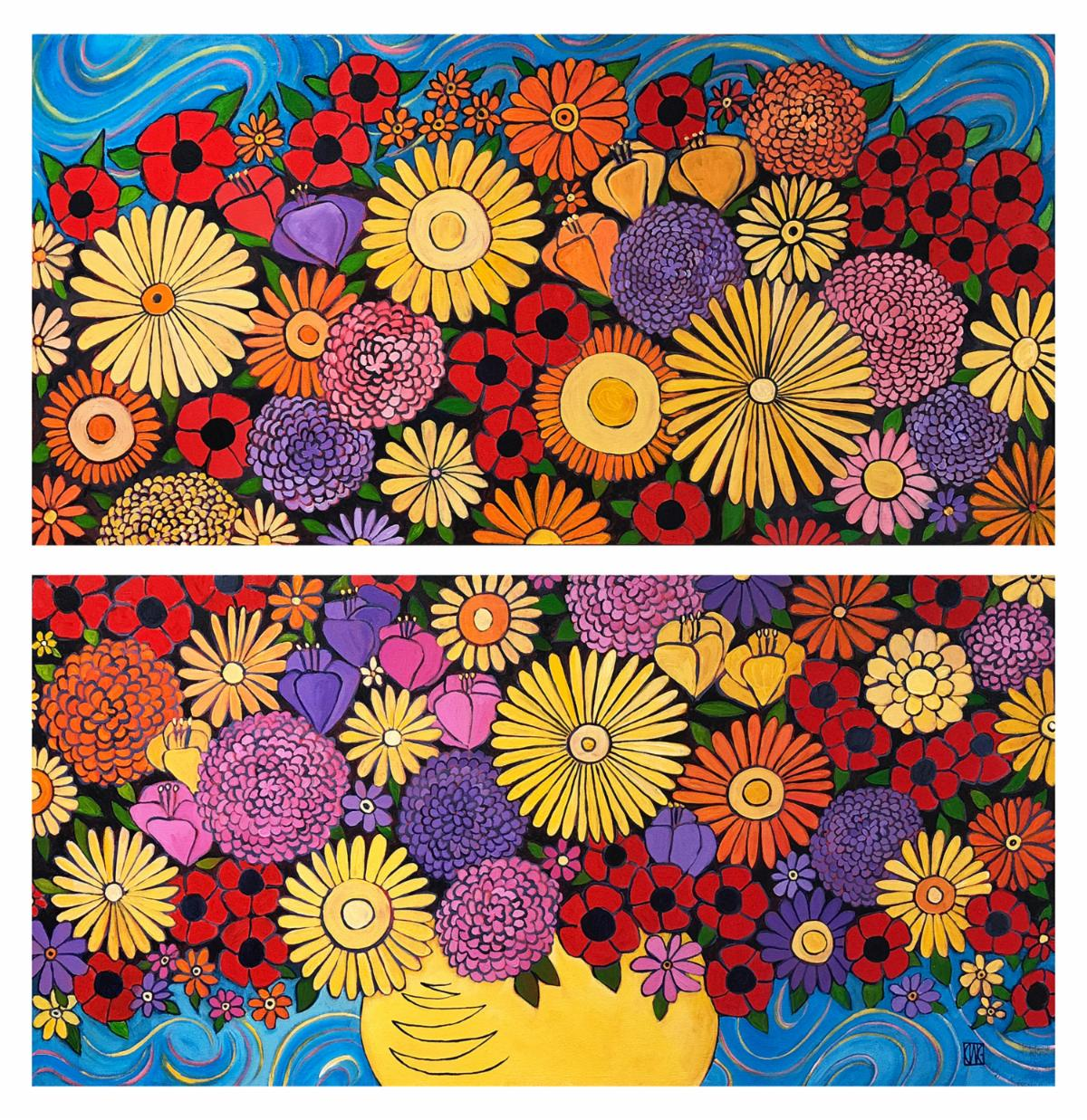 """Tenth Bloom (diptych)"", acrylic painting by Carla W. Gelbaum"