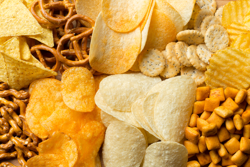 Salty snacks. Pretzels_ chips_ crackers