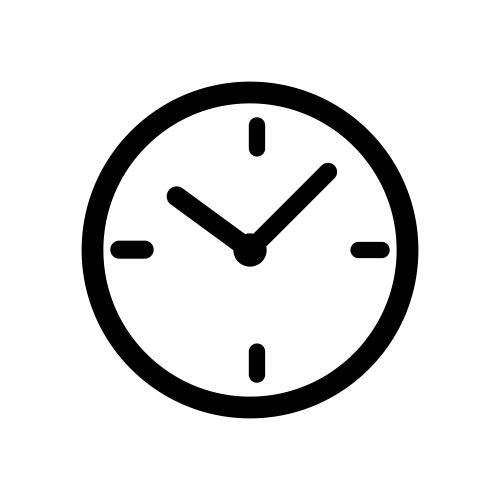 Black time clock icon isolated on white background