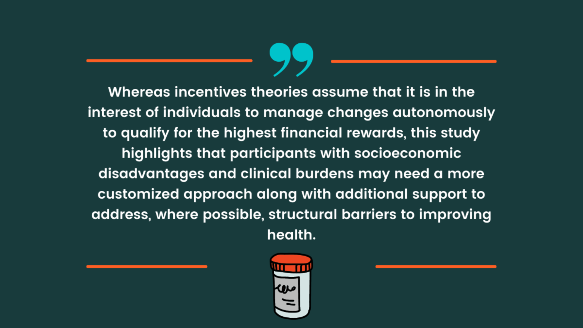 This study highlights that participants with socioeconomic disadvantages and clinical burdens may need a more customized approach