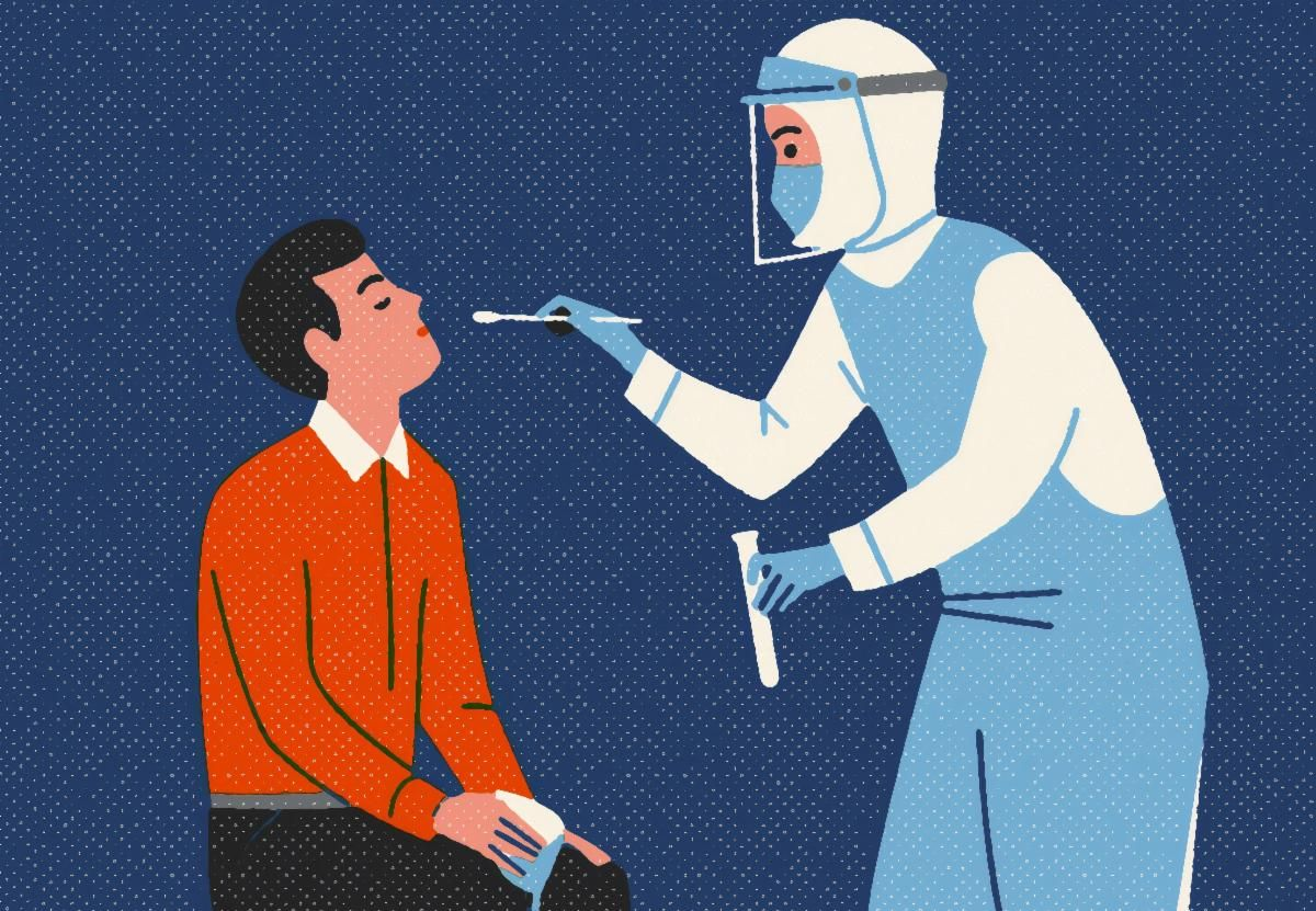 illustration of health care worker testing a patient for covid-19