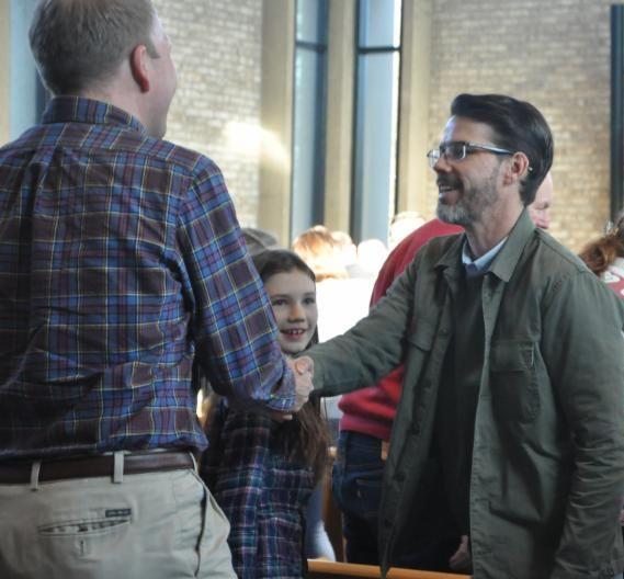Greeting - man - congregation