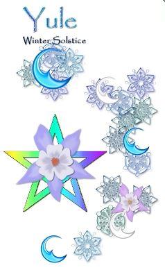 Winter Yule stars & snowflakes