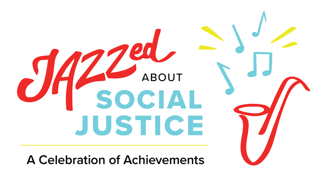 Jazzed about social justice w/ saxophone graphic