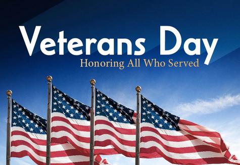 Veteran Day w/ flags waving