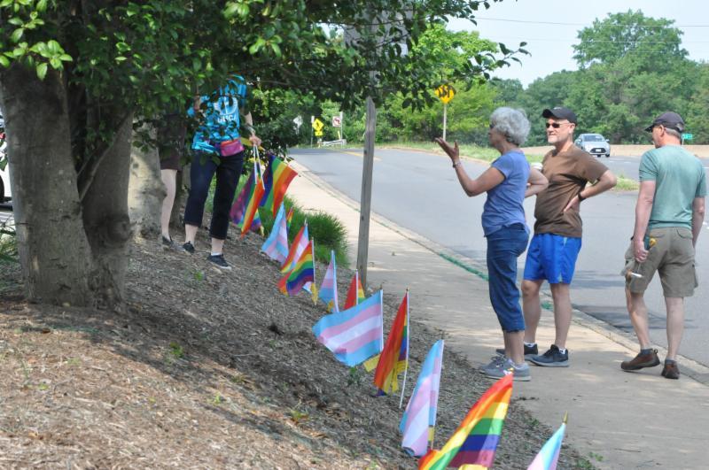 rainbow flags in a row