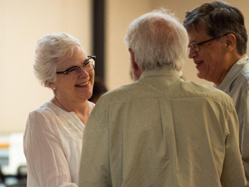 Rev Terasa talking to congregants