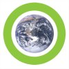 Green circle with Earth i center