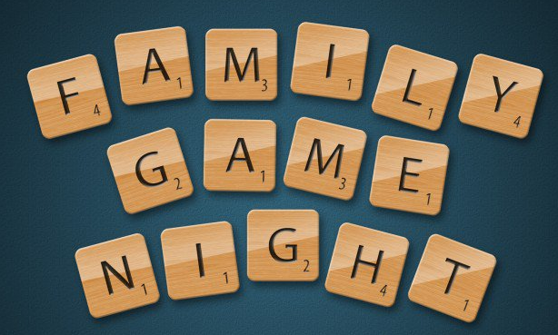 FAMILY GAME NIGHT - spelled out w/ Scrabble tiles