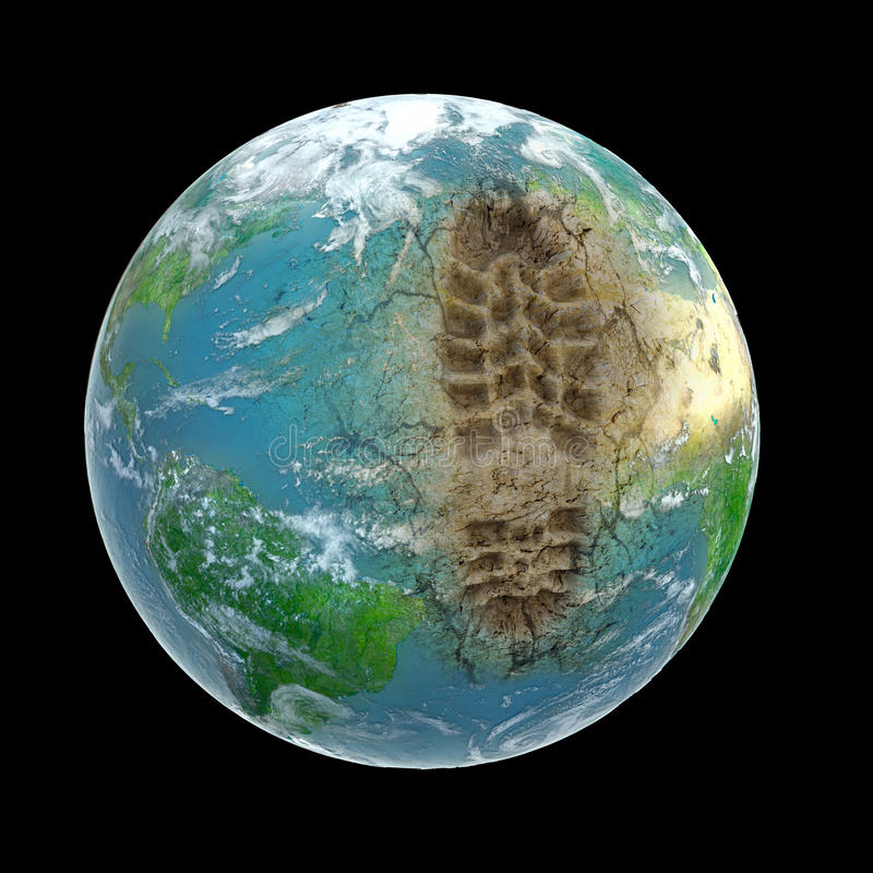 Image of planet earth w/ a footprint