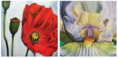 Two flower paintings by Bardin