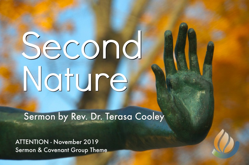 Second Nature - Sermon by Rev Terasa - image brass sculpture of extended arm and hand