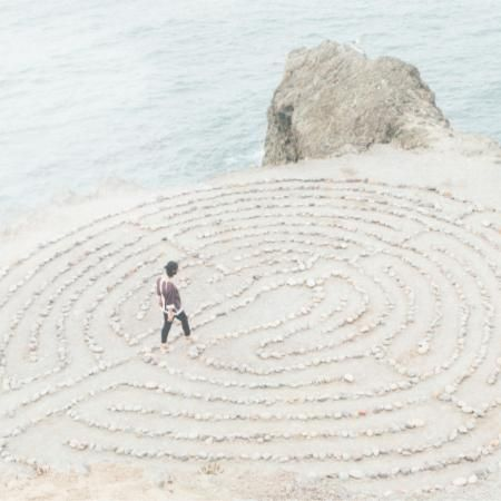 person walking the labyrinth