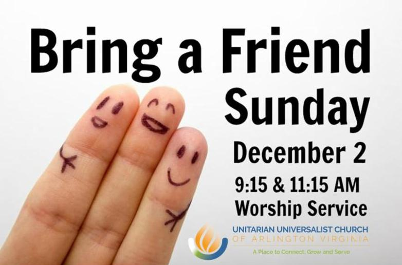 Bring a Friend Sunday, Dec 2, 9:15 & 11:15 am / 3-finger-puppet-friends