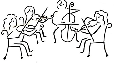 pencil drawing of string quartet