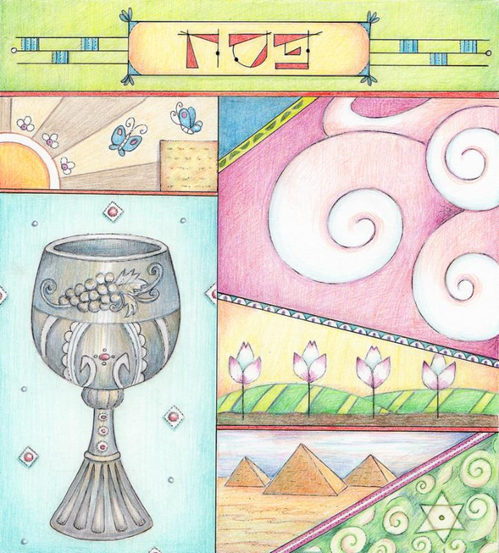 Colorful Passover greeting card made with Colored pencils.
