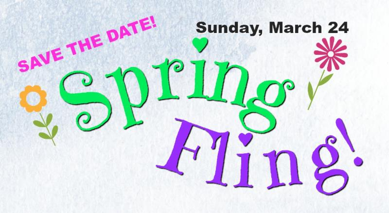 Spring Fling! banner save the date March 24