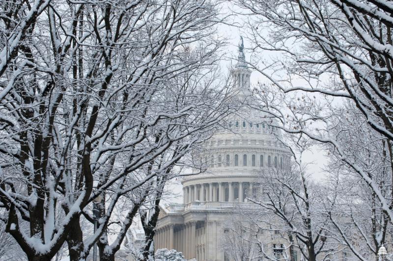 Capitol building in winter