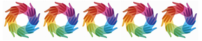 rainbow hands making circles