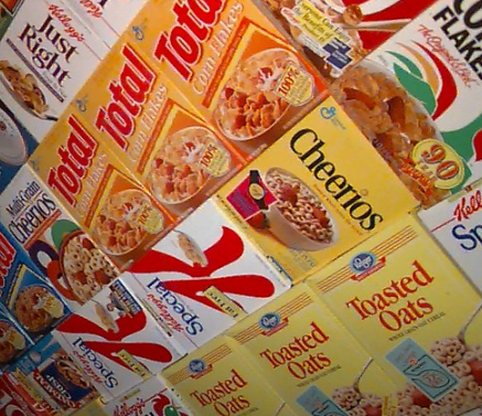 wall of cereal boxes