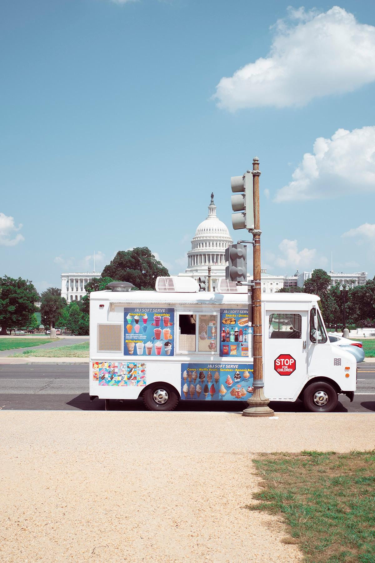 ice cream truck in front of the White House.