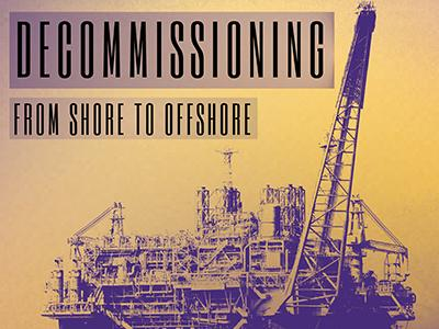 A purple and gold filtered image of an oil rig with the title Decommissioning From Shore to Offshore in the foreground