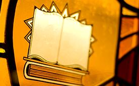 Books drawn on stained glass