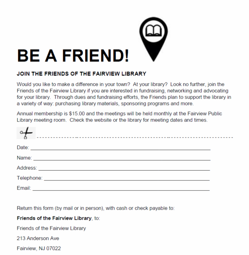 Friends of the Fairview Public Library Membership Form