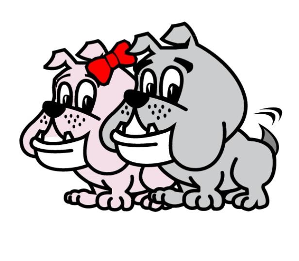 And illustration of two bulldog puppies, one grey one pink.