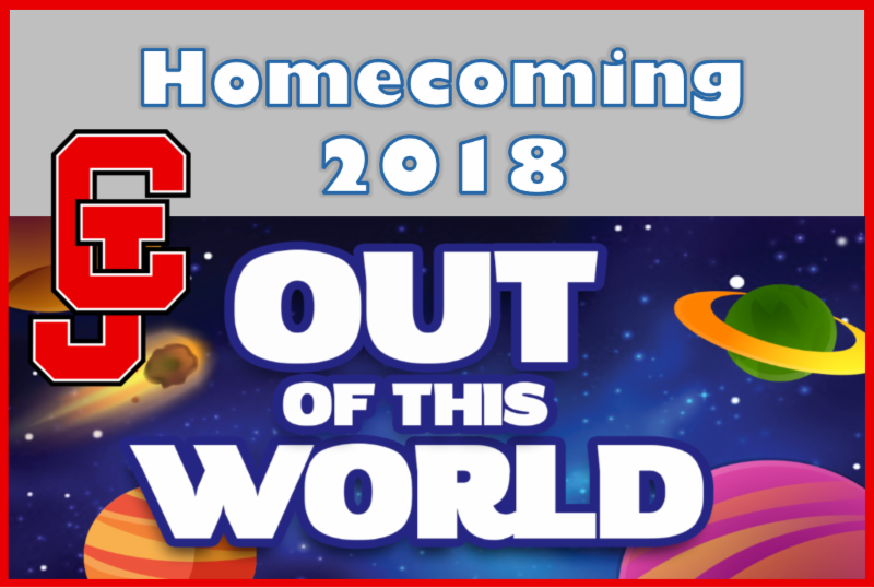 A picture that shows outer space and says homecoming 2018, out of this world theme.