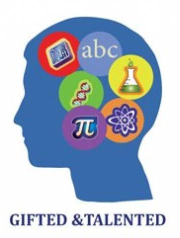 A clip art of a side profile with a solid blue head with icons inside of different scholarly things (an abc, a beaker, an atom etc). Text reads gifted & talented