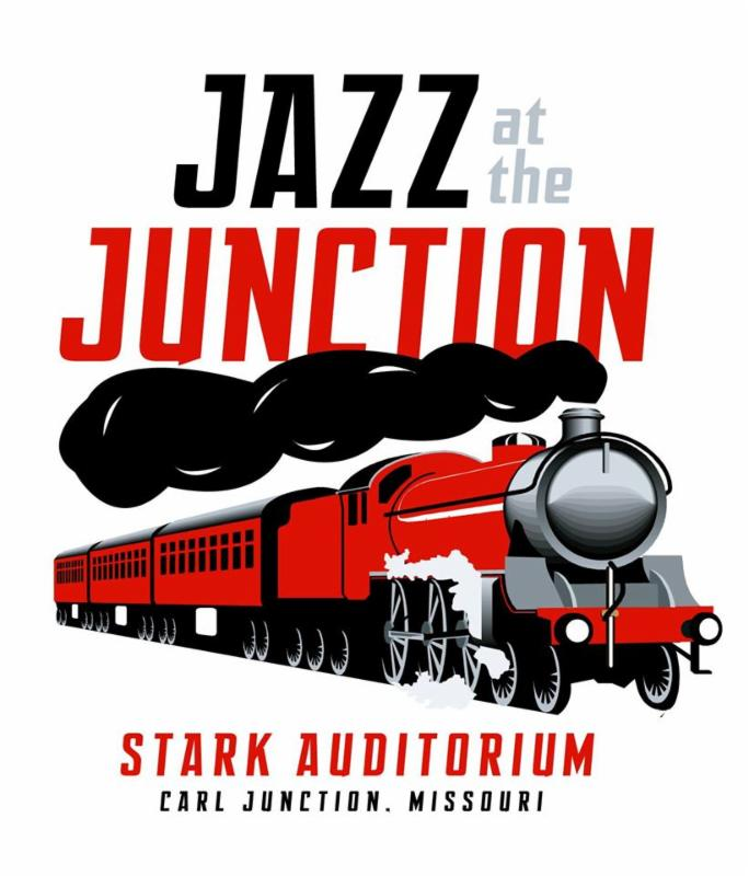 Jazz at the Junction poster, shows an illustration of a train and the text Stark Auditorium, Carl Junction Missouri