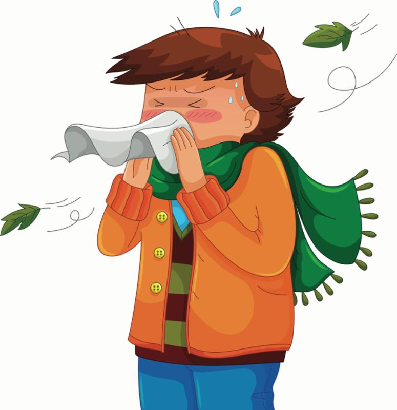 A clip art illustration of a boy with brown heair sneezing and sweting.