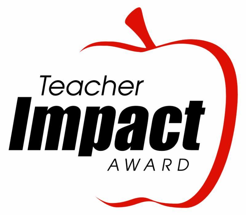 A logo made with an apple around the words, Teacher Impact Award