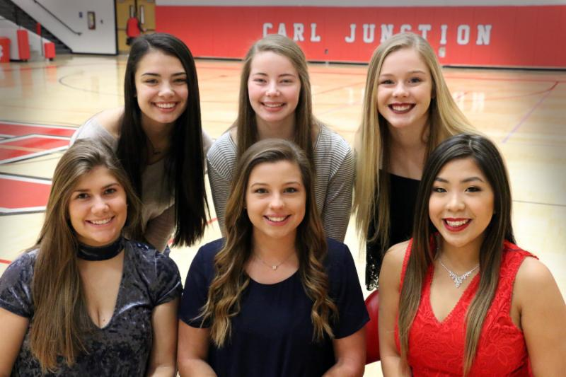 A group of six girls pose in the gym (back, from left) Freshman Kris Smith, Sophomore Hannah Huffman, and Junior Gracie Smith. Queen candidates include (front row from left) seniors Karli Frazier, Cana Sluder, and Stormie Riggs.