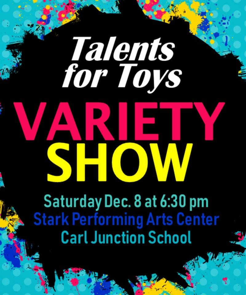 Talents for toys variety show poster showing the time and date information.