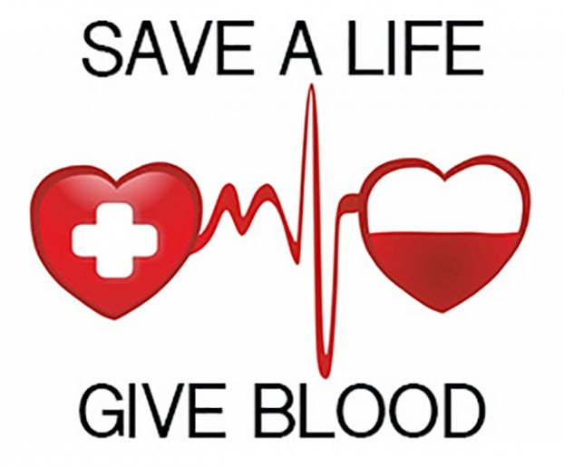 a logo reads - save a life, give blood. the picture has a heart with cross on it connected to a heart beat pulse leading to a heart shape half filled with what appears to be blood.