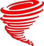 A clip art of a red tornado