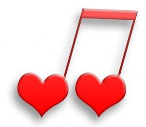Music notes made with hearts image